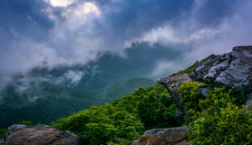 The Blue Ridge in fog, seen from Craggy Pinnacle, near the Blue Royalty Free Stock Photos