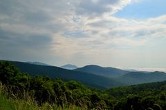 Blue Ridge mountain Scene -Clouds. Mountains in Shenandoah National Park Stock Images
