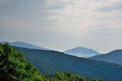 Blue Ridge mountain Scene -Distant Peak. Mountains in Shenandoah National Park Royalty Free Stock Photos