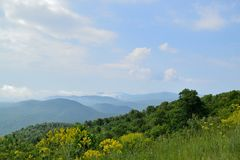 Blue Ridge mountain Scene -  Meadow. Mountains in Shenandoah National Park Royalty Free Stock Images