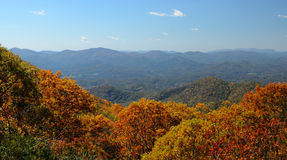 Blue Ridge Mountains. View of the Blue Ridge Mountains during fall season from Brasstown Bald, the highest elevation in the state of Georgia, USA Stock Photography