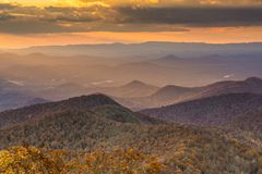 Blue Ridge Mountains. At dusk in north Georgia, USA Stock Image