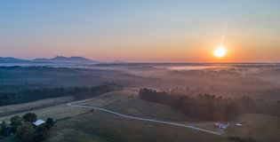 Blue Ridge Mountains. High above view of the gateway to the blue ridge mountains, North Carolina, Mayberry country,Home, Back roads, Pinnacle Royalty Free Stock Photo