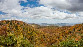 Blue Ridge mountains in late autumn color panorama landscape stock photo