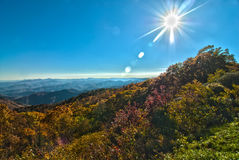 Blue ridge mountains north carolina. With sun shining royalty free stock photography