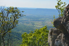 Blue Ridge Mountains rock formation in Summer. Royalty Free Stock Photo