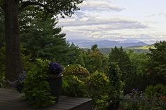 Blue Ridge mountains seen from North Carolina back yard. A backyard deck in Asheville, North Carolina with the Blue Ridge mountains in the distance Stock Photos
