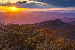 Blue Ridge Mountains. At sunset in north Georgia, USA Royalty Free Stock Photos