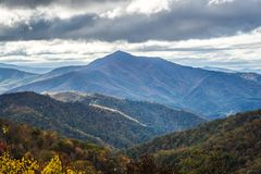 Blue ridge mountains views from the parkway stock image