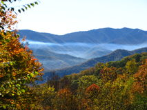 Blue Ridge Parkway. Scenic view of countryside landscape with misty mountain range in background Stock Photography
