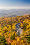 Blue Ridge Parkway in Autumn at Sunrise stock photos