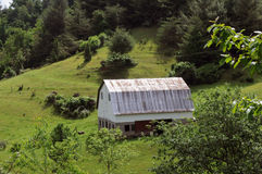 Blue Ridge Parkway barn. Old barn on hillside of Blue Ridge Parkway royalty free stock images