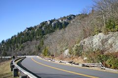 Blue Ridge Parkway Curve at Linn Cove Viaduct Stock Images