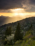 Blue Ridge Parkway Golden Sun Rays NC Royalty Free Stock Photo