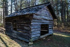 Cool Springs Baptist Church. Blue Ridge Parkway, NC – December 19th: Cool Spring Baptist Church located at mile 272.4. The church exhibit is a small shelter Stock Image
