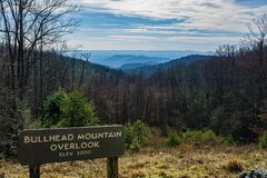 View from Bullhead Mountain Overlook. Blue Ridge Parkway, NC – December 19th: View of the Blue Ridge Mountains from Bullhead Mountain overlook located at mile Stock Photo