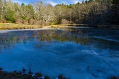 Little Glade Mill Pond - 2. Blue Ridge Parkway, NC – December 19th: A view of a frozen Little Glade Mill Pond located on the Blue Ridge Mountains at mile royalty free stock photo