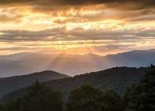 Blue Ridge Parkway NC Golden Sunset Landscape Stock Image