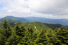 Blue Ridge Parkway Road. View from Mount Mitchell in the summer, Blue Ridge Parkway in the middle royalty free stock image