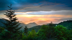 Blue Ridge Parkway Scenic Golden Rainbow stock images