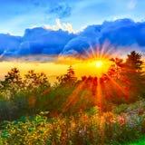 Blue Ridge Parkway summer Appalachian Mountains Sunset West Stock Photo