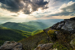 Blue Ridge Parkway Sun Rays NC Royalty Free Stock Photo