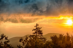 Blue Ridge Parkway Sunset over Appalachian Mountains Royalty Free Stock Images