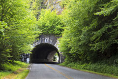 Blue Ridge Parkway Tunnel. A tunnel on the Blue Ridge Parkway Road in the Summer stock images