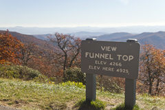 Blue Ridge Parkway View from High Up on Funnel Top, NC Royalty Free Stock Image