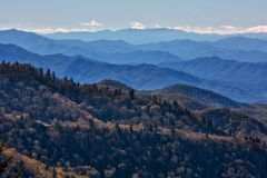 Blue Ridge Parkway. A view from an overlook on the iconic Blue Ridge Parkway in Western North Carolina showing the layers of the distant mountains which it`s royalty free stock photos