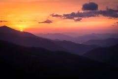 Blue Ridge and Smoky Mountain Sunrise. Sunrises and Sunsets in the Blue Ridge and Smoky Mountains in the Southeastern United States are stunning Stock Photos