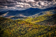 Blue ridge and smoky mountains changing color in fall royalty free stock image