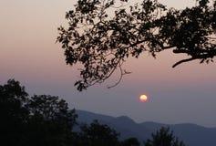 Blue Ridge Sunrise. A hazy sunrise on the Blue Ridge Parkway in the mountains of North Carolina Royalty Free Stock Image