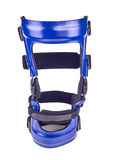 Blue rigged knee brace. Isolated over white royalty free stock image