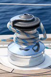 Blue rigging. On board the yacht at sea Stock Photo