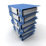 Blue ring binders stacked on a pile Stock Photo