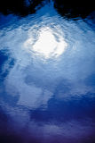 Blue rippled water detail and reflection of the bright moon in river Stock Photos