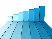 Blue rising busines bar graph diagram. 3d render illustration Royalty Free Stock Image