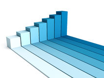 Blue rising busines bar graph diagram. 3d render illustration Stock Image