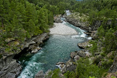 Blue River. With trees in Norway Stock Photography