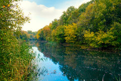 Blue river in autumn Royalty Free Stock Images