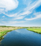 Blue river and blue sky with clouds Royalty Free Stock Images