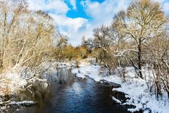 The blue river is covered with a thin transparent layer of ice, on the banks and trees there is white snow, a winter landscape. In the daytime royalty free stock photography