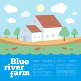 Blue River Farm Flat Style Vector Background Stock Photos