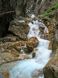 Blue River. River flowing through the Partnach Gorge in Bavaria, Germany stock photos