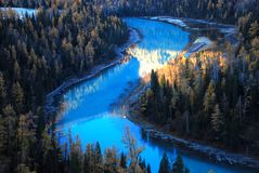 Blue river in forest. In morning, blue river is flowing in olive-drab forest, the golden sunshine drop on some water and trees, and become part of them into Stock Photo