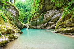 Blue river in the gorge Royalty Free Stock Photography