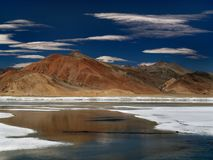 The blue river of the lake among the high mountains, on the desert plain salt, the Himalayas. Royalty Free Stock Images