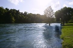 Blue river landscape near San Antonio Texas Stock Image