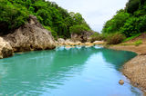 Blue river and landscape Royalty Free Stock Image